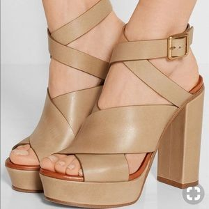 Chloe Criss Cross Leather Platform Heel Sandal